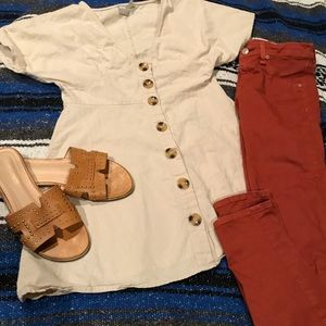 Tan button front tunic